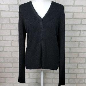 August Silk Black/Silver Silk Blend Cardigan LG